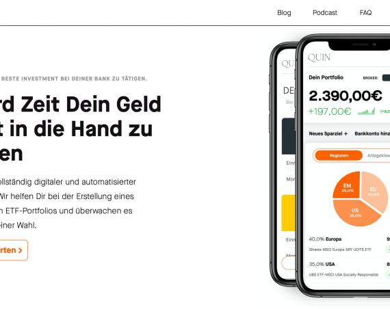 QUIN ETF Sparplan erstellen FinTech StartUp Fire lifestyle